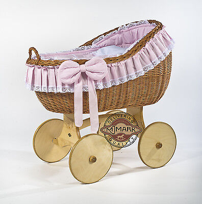 Wicker Crib Moses Basket Stubenwagen Bianca Antique PINK with Bedding (Cot Bed)