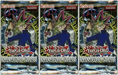 YuGiOh! Invasion of Chaos New and Sealed YuGiOh Booster Packs x3