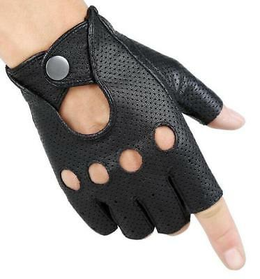 Men's Genuine Leather Gloves Fingerless Motorcycle Cycling Outdoor Driving Gym