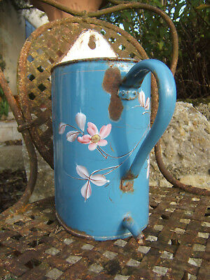Antique French Vintage Blue And Roses Flowers Enamel Enamelware Water Fountain