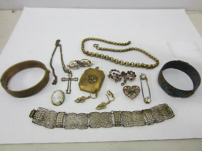 Vintage & Antique Lot of Brass Jewelry- Bracelets, Necklaces & Brooches