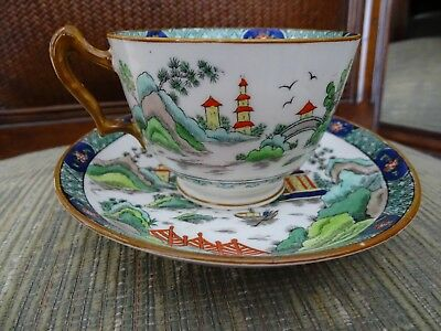 Vintage Crown Staffordshire Fine Bone China Ye Olde Willow Large Coffee Cup +