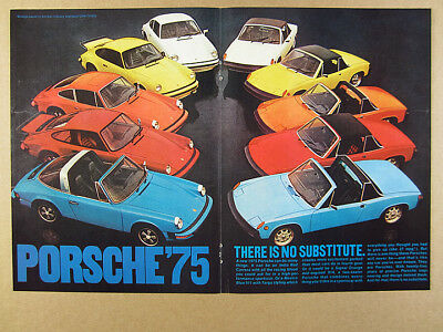 1975 Porsche 911 Targa Carrera 914 blue orange yellow red white vintage print Ad