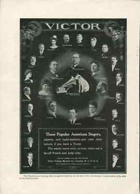 1907 Victrola Dog Victor Talking Machine Company American Singers Vintage Ad Old