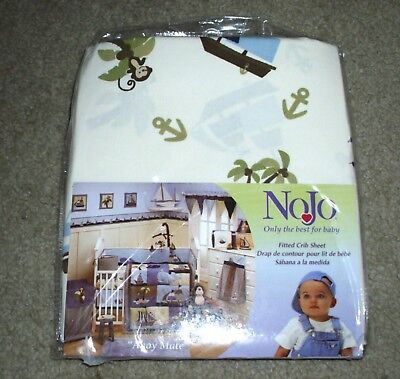 NoJo AHOY MATE Fitted CRIB SHEET Nautical Whales Pirates NEW IN PACKAGE