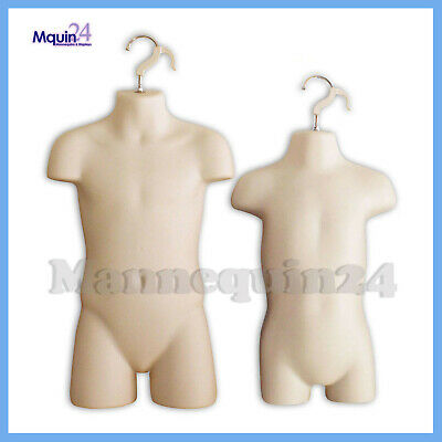 Toddler & Child Torso Hanging Mannequin Set With Hangers - Flesh Kids Forms