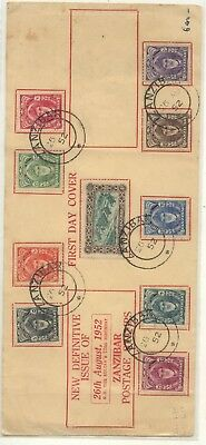 Zanzibar  nice  first day cover  1952            MS1104