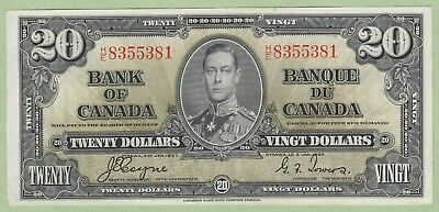 1937 Bank of Canada 20 Dollar Note - Coyne/Towers - H/E8355381 - EF