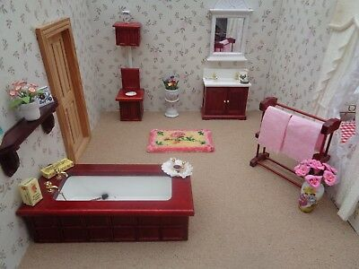 Dolls House Furniture~Job Lot~Complete Victorian Bathroom Set With  Accessories