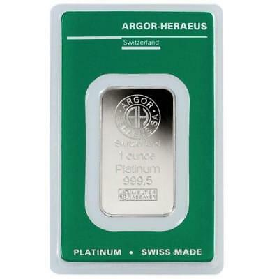 1oz Platinum Argor Heraeus .999+ Platinum Bar in Assay Card #A449