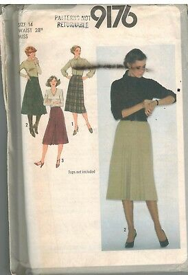 9176 UNCUT Vintage Simplicity Sewing Pattern Misses Set of Skirts Wrap Pleat 14