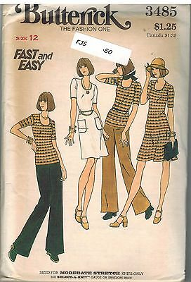 3485 UNCUT Vintage Butterick Sewing Pattern Misses Dress Skirt Top Pants 12 Easy