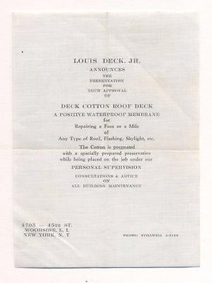 1900 COTTON ROOF DECK ARCHITECTURE SAMPLE w PRINTED LOUIS DECK NYC ADVERTISEMENT