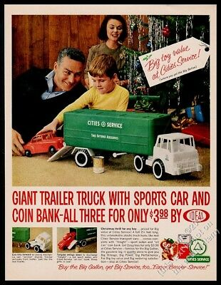 1963 Cities Service gas toy trailer truck car bank photo Xmas vintage print ad