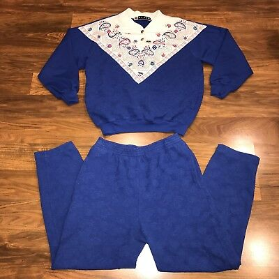 Vtg 80s BLAST Sweatshirt BLUE Womens SMALL Jogging Track Suit Jacket Pants PS