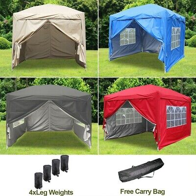2x2M 2.5x2.5M 3x3M Garden Pop Up Gazebo Party Tent 2 Free Windbars 4 Leg Weights