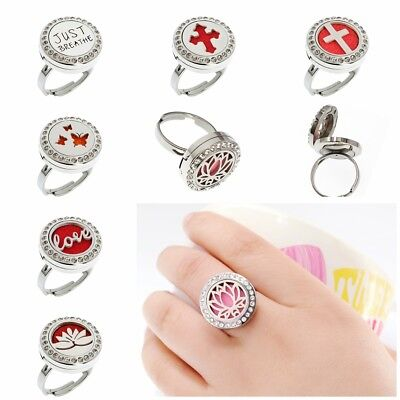 1pc Stainless Finger Ring Aroma Diffuser Essential Oil Locket Ring Jewelry 10pad