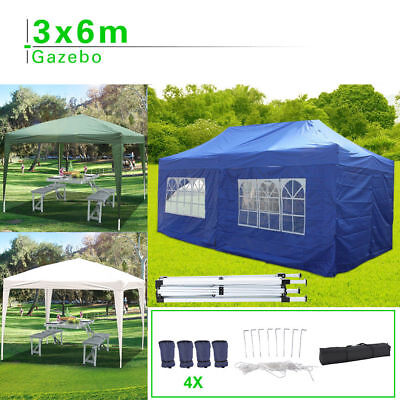 Heavy FULLY Duty WATERPROOF Gazebo Up Sides/ Pop with Bag Wedding 6x3mtr