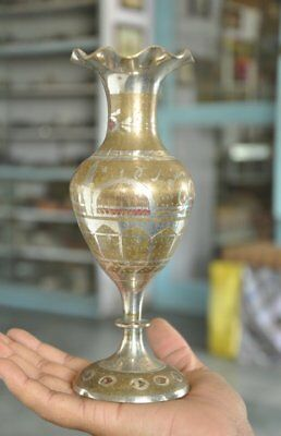 Old Brass Handcrafted Flowers & Mosque Engraved Unique Shape Flower Pot