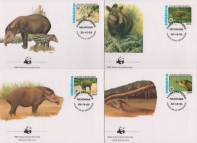 Nicaragua 1985 World Wildlife Fund - Tapir - 4 First Day Covers - (95)