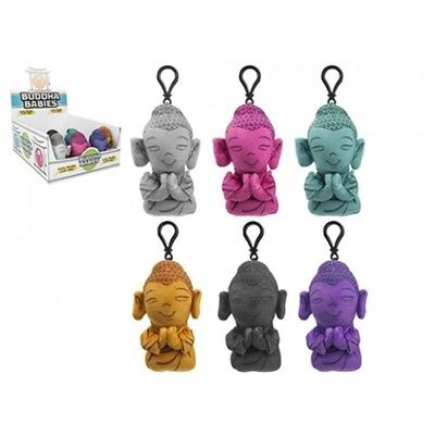 12cm Plush Buddha Clip-on 6 Assorted Colours. 24pc Cdu - Clipon Colours