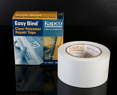 KAPCO EASY-BIND CLEAR BOOK REPAIR TAPE 64mm x 30m roll ACID FREE!