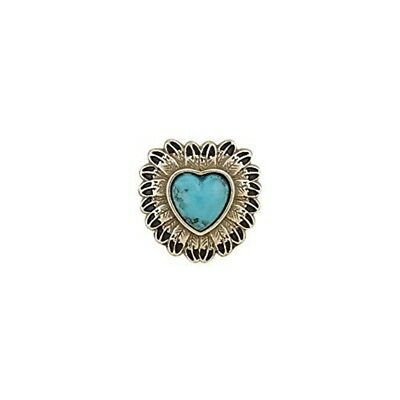 "Tandy Leather Turquoise Feather Concho 1"" Heart Antique Silver Plate/nickel"