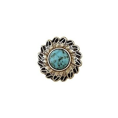 "Tandy Leather Turquoise Feather Concho 1-1/4"" Round Antique Silver Plate/nickel"