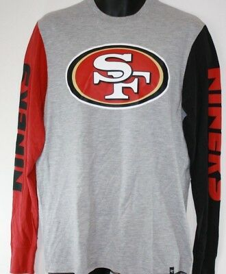 NEW Mens NFL San Francisco 49'ers '47 Brand Grey Football Long Sleeve Shirt NWOT