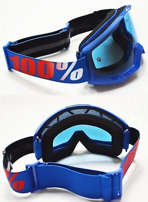 100% PERCENT STRATA MOTOCROSS MX BIKE GOGGLES NATION BLUE with BLUE TINT LENS