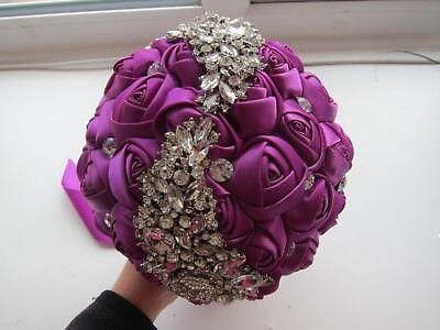 Handtied Bouquet Purple Brooch Wedding Flowers Satin Rose Posy Artifical