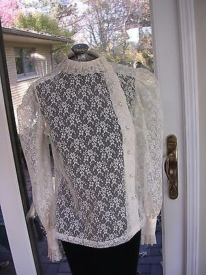 #182 WOMANS  VINTAGE IVORY LACE VICTORIAN DICKENS STEAMPUNK STYLE BLOUSE Sz S (8