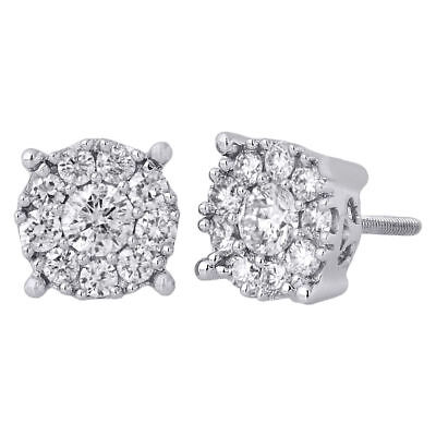 14K White Gold Solitaire Accent 8.25mm Round Diamond Flower Stud Earrings 1 Ct.