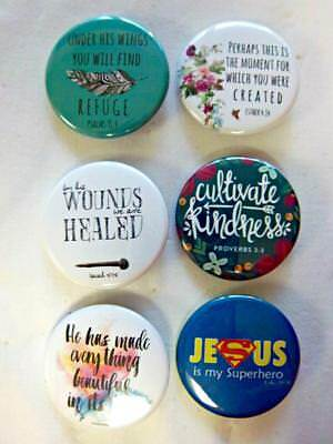 """1.5"""" Christian Set 3~ 6-pk Novelty Buttons/Pins: For backpacks, Jackets, sharing"""