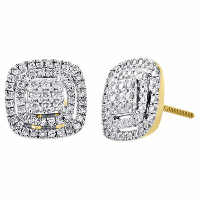 14K Yellow Gold Round Diamond Double Halo Cluster Square Stud Earrings 0.50 Ct.