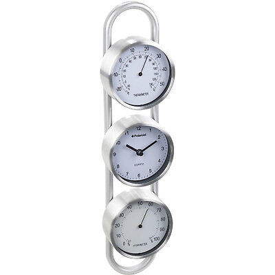 Polaroid Weather Station Wall Clock Thermometer Hygrometer - Brushed Silver