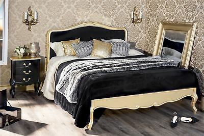 Juliette Gold 4ft6 Double bed with Black upholstered headboard.Stunning gold bed