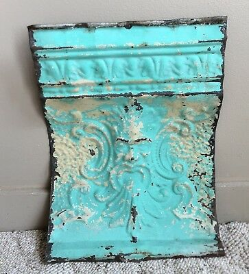 1890's OLD MAN OF THE NORTH Ceiling Tin Metal Cove Molding Turquoise  193-18
