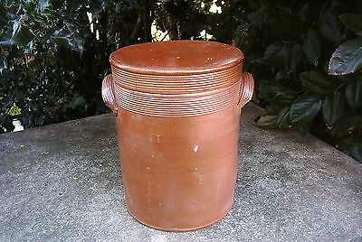 ANTIQUE 19 th c.LARGE   FRENCH  POTTERY  STONEWARE CONFIT POT