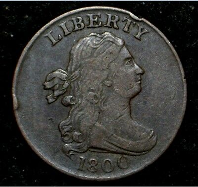 1800 HALF CENT**VERY FINE + VF+ **Solid Strike** Off-Center Reverse