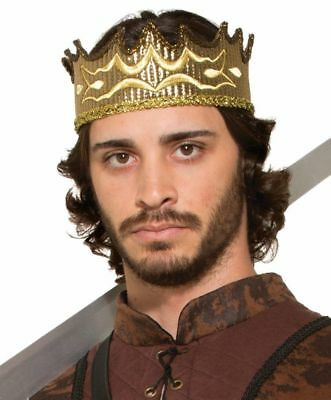 Gold King Queen Crown Medieval Fabric Adjustable Costume Accessory Prince Unisex