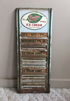 Vintage 1950's  Eat Breyers Ice cream Metal Menu Board Sign Cones Pints
