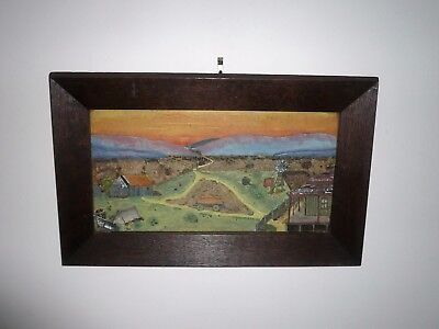 ANTIQUE ORIGINAL AUSTRALIAN FOLK ART FRAMED FARMHOUSE COUNTRY SCENE circa 1900s
