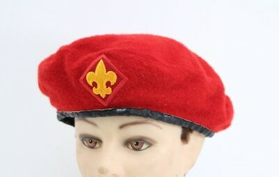 VTG Boy Scouts of America Official Headwear Red 100% Wool Beret Size 7 1/4