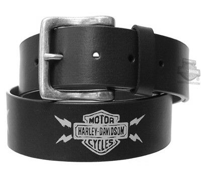 Harley-Davidson Mens Thunderstruck Lightning B&S Black Leather Belt by LODIS
