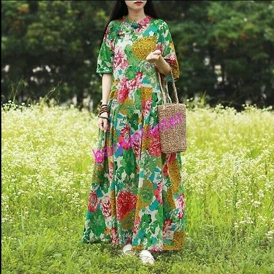 Womens Casual Loose Chinese Style Floral pattern Short Sleeve Retro Dress  new