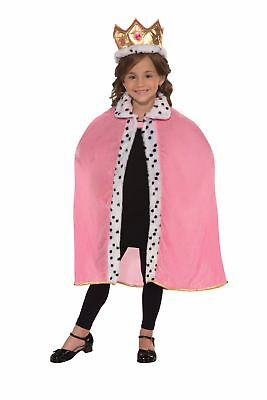 Child Pink Queen Cape and Crown Set Kit Costume Princess Pageant Winner Fun Fur