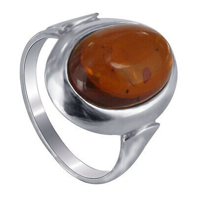 ffd2471e75c53 SOLID VINTAGE STERLING Silver/925 Oval Baltic Amber Cocktail Ring ...