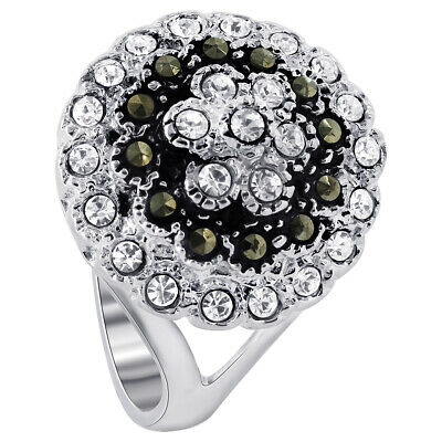 925 Sterling Silver 2mm Cubic Zirconia and Marcasite Round CZ Ring Size 6 - 9