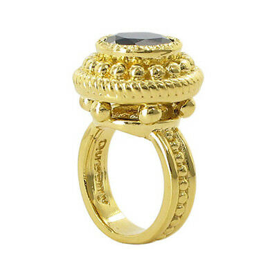 18k Gold over 925 Silver 12mm Onyx Vermeil Ring Size 5 - 10